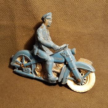 Auburn Rubber Policeman on Motorcycle 1950s - Model Cars