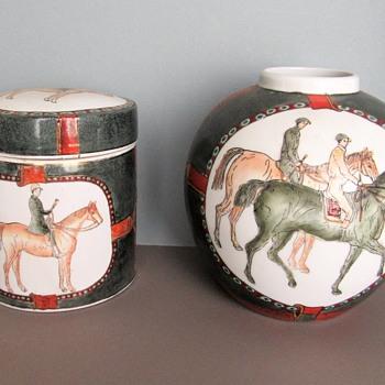 Asian Set of a Ginger Jar and Cookie? Jar_Vintage? - Asian