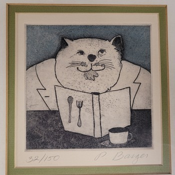 Cat Print of Etching by P. Barger - Animals
