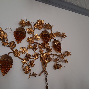 Beautiful gold lamp with glass yellow brown grapes big wall piece - Mid-Century Modern