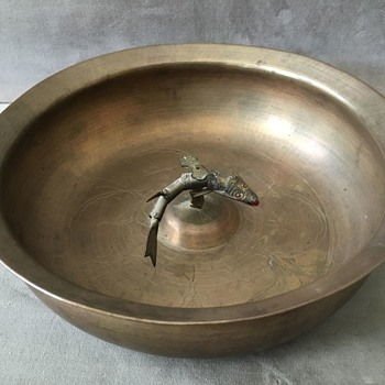 Antique Japanese Brass Bowl with Movable Koi Fish in Center - Asian