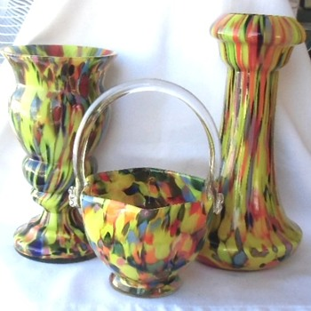 The yellow spatter Ruckl pieces, Czech glass of good dimension, substance and quality. - Art Glass