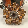 D & E TOPAZ & HONEY GIVRE' GLASS BROOCH