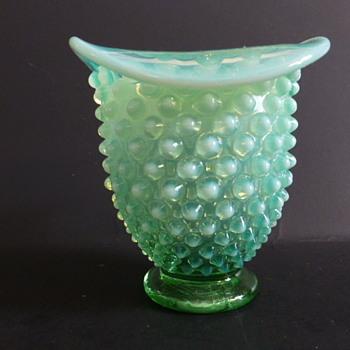 Fenton opalescent green hobnail small vase - Glassware