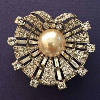 Trifari's  Sterling Rhinestone Pearl Shell Brooch - Costume Jewelry