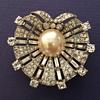Trifari's  Sterling Rhinestone Pearl Shell Brooch