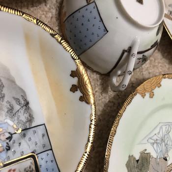 Hand-painted Eggshell Porcelain Japanese Samurai Scene  - Asian