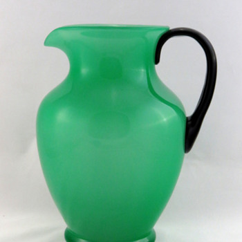 Steuben 7218 Green Jade Pitcher with Mirror Black Handle  - Art Glass