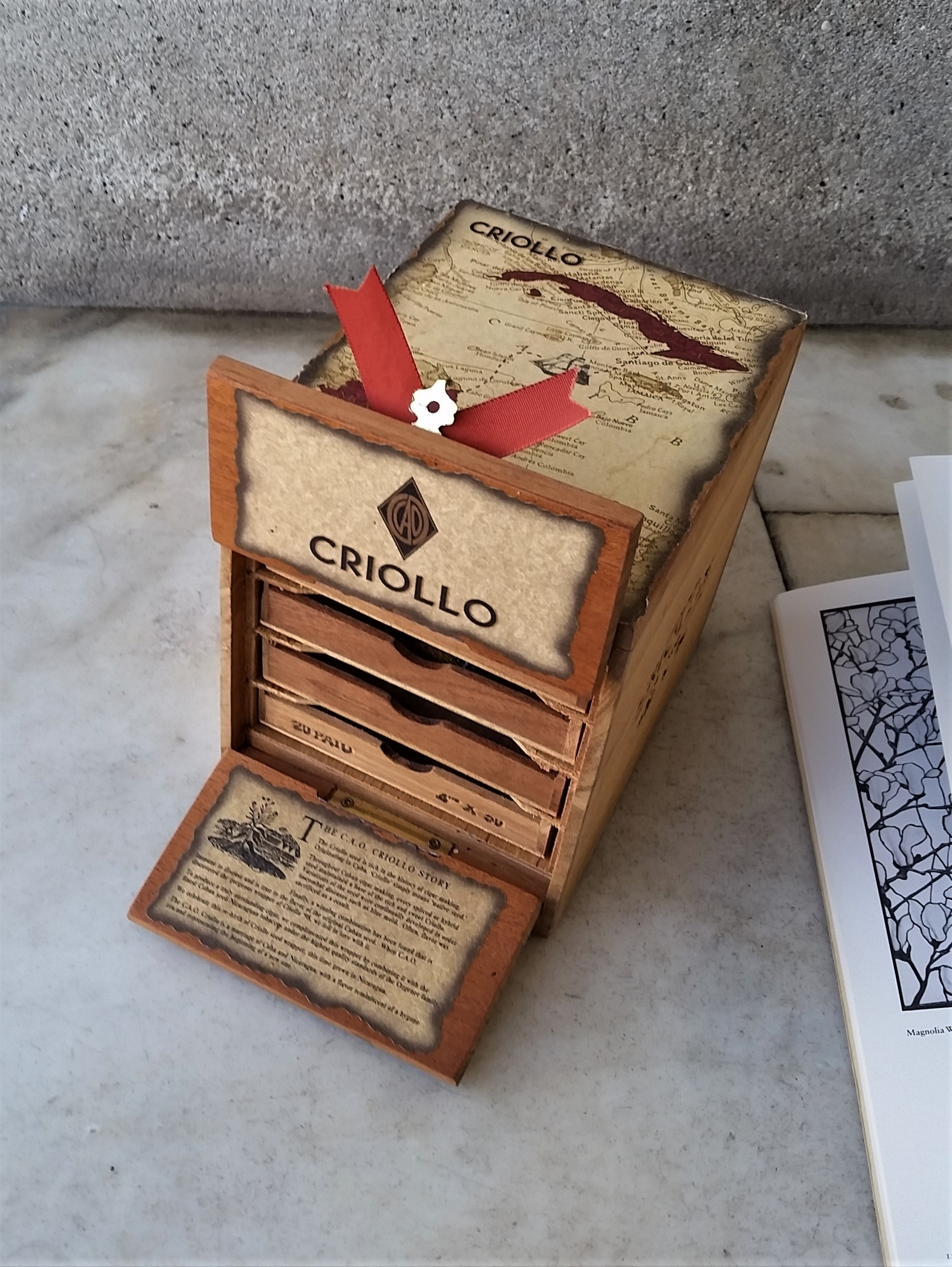 Great Shape CAO Criollo Leather Double Door Wooden Cigar Box