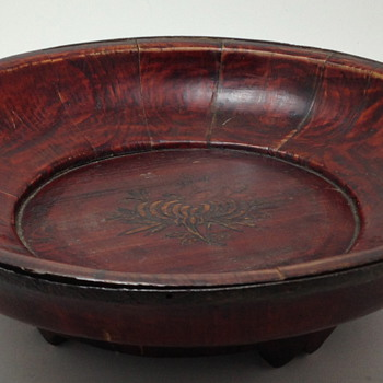 Handmade Wooden Footed Bowl - Possibly Repaired - South America?? - Kitchen