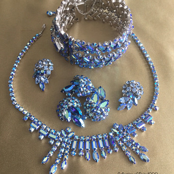 Sherman Statement Necklace Set with Art Deco Redux Cuff & Flower Brooch Set - Costume Jewelry
