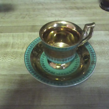 gold/teal cup & saucer - China and Dinnerware