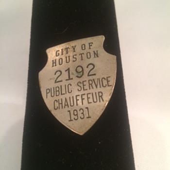 1931 City of Houston Public Service Chauffeur