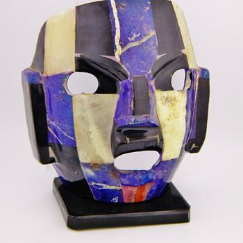 Aztec Burial Mask Lapis Quartz Onyx  - Pottery
