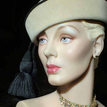 Creamy Taupe Pilbox with Black Silk Cording and Tassels - Hats