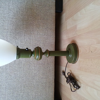 Table lamp, metal base with milk glass shade-possibly french - Lamps