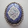 Handmade enameled Persian pin brooch (Quajar Dynasty) set in Silver