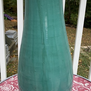 Large Blue/Green Glazed Hand-Thrown Vase/Jar - Pottery