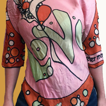 1960s Hippie Folk Art Shirt made from 2 Peter Max Scarves - Fine Art