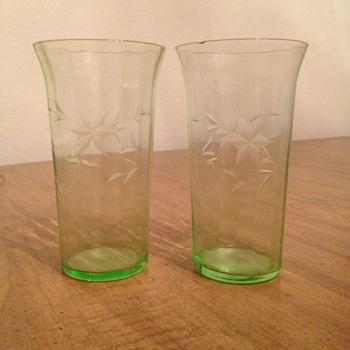 Green Depression Glass Tumblers - Glassware