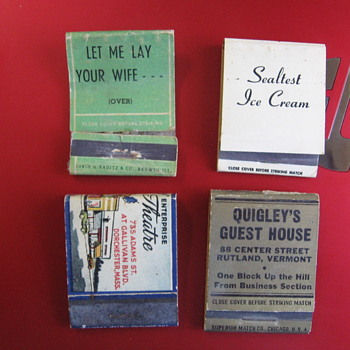 4 Matchbooks from the Past!!! LET ME LAY YOUR WIFE is funny!!! - Tobacciana
