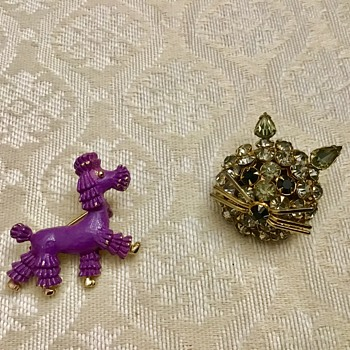 Purple poodle and rhinestone cat - Costume Jewelry
