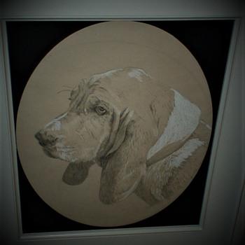 Framed Dog Sketch  - Fine Art