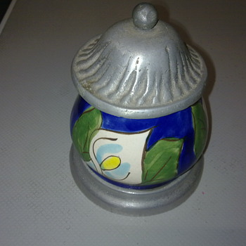 PEWTER AND POTTERY JAR - Pottery