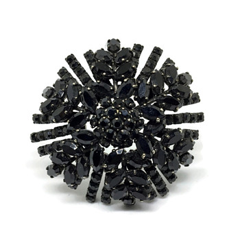 Black Mounded Sherman Brooch - Costume Jewelry