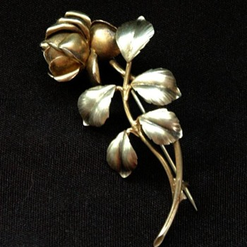 art nouveau silver and gold plated roseflower pin brooch - Fine Jewelry