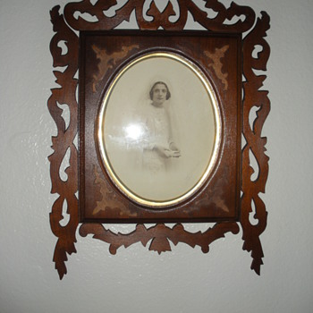 hand carved picture  frame and original signed photo  - Photographs