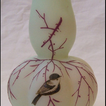 little bird vase Bohemian  - Art Glass
