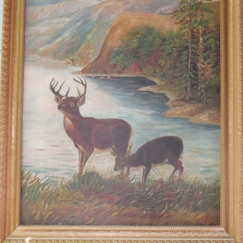 "Vintage Wilderness Painting Oil On Board ""Deer By A Lake"" - Animals"