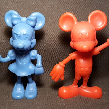 """Marx Mickey and Minnie Mouse 6"""" Figures Early 1970s - Advertising"""
