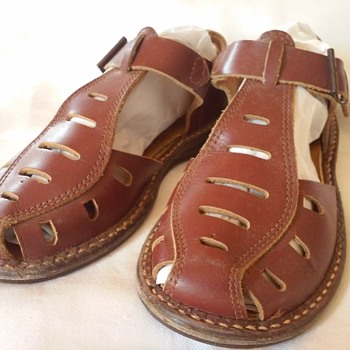 1953 Boys Leather Sandals ~~  Worn by my oldest brother who was born in 1948 - Shoes