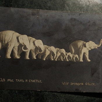 Odd Postcard - Elephants and in Russian?