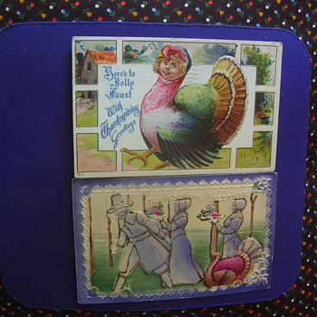 VINTAGE EMBOSSED THANKSGIVING POSTCARDS,CUTE & CREEPY!! - Postcards
