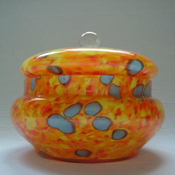 Welz Art Deco Lidded Bowl - Art Glass