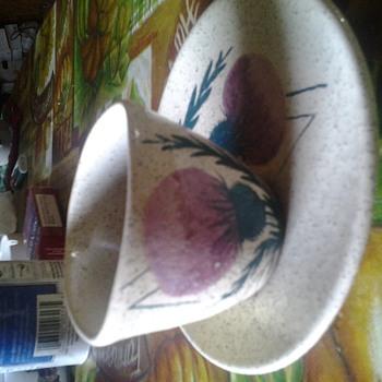 "lantz lorezens nova scotia ""thistle"" vase and underplate - Pottery"
