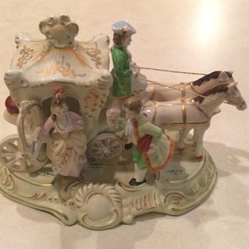 Vintage Japan Coach and Horses Figurine