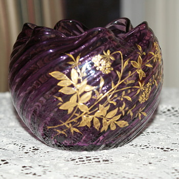Purple Glass Rose Bowl with Gold Decoration - Art Glass