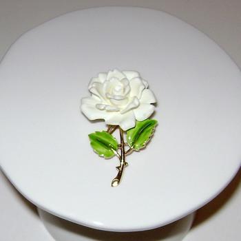 Crown Trifari Rose Brooch - Costume Jewelry