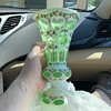 Green and white glass vase