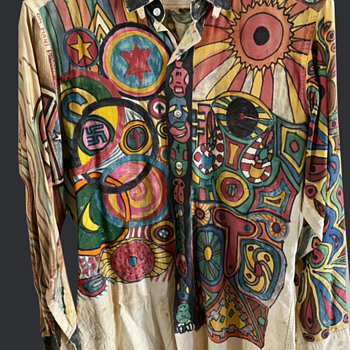 60s-70s SAN FRANCISCO HIPPIE Folk Art all Hand Drawn Shirt - Mens Clothing