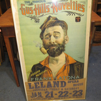 Vintage Advertisement Gus Hill Novelties Frank Latona Old Poster Unknown