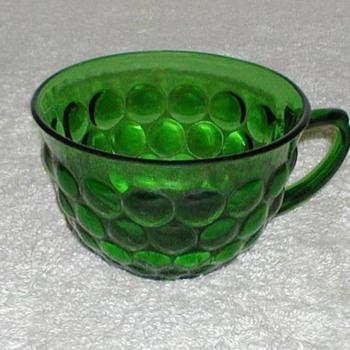 Bubble Pattern Green Glass Cups