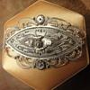 Navette peasant silver brooch
