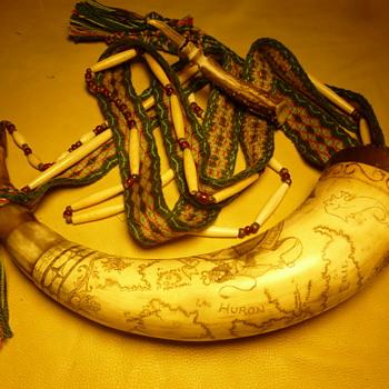 Personal Scrimshawed powder horn , N0#34 ,  - Folk Art