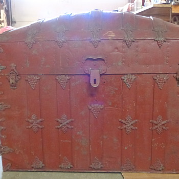 Antique Trunk with Elaborate Hardware