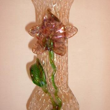 Kralik Clear Martelé Vase with Applied Flower - Art Glass